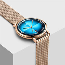 Fashion Blue Watch Men Ultra Thin Quartz Wristwatches Gold Mesh Waterproof Clock Mens Watches Top Brand Luxury Casual Male Watch