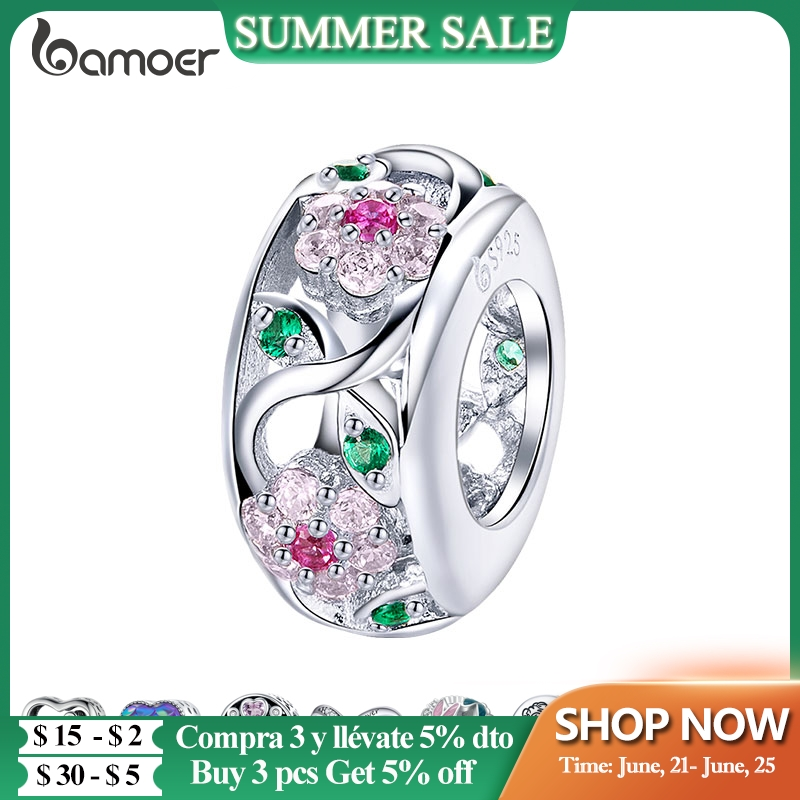 3 Days Delivery to Spain Silver Charm Collection 925 Sterling Silver Dazzling CZ Beads fit Bracelets & Bangles Jewelry BSC039