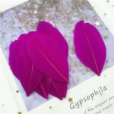 Натуральные гусиные перья 4-8 см, многоцветные белые перья, поделки своими руками, украшения для свадебной вечеринки, аксессуары, 50 шт - Цвет: rose red 50pcs