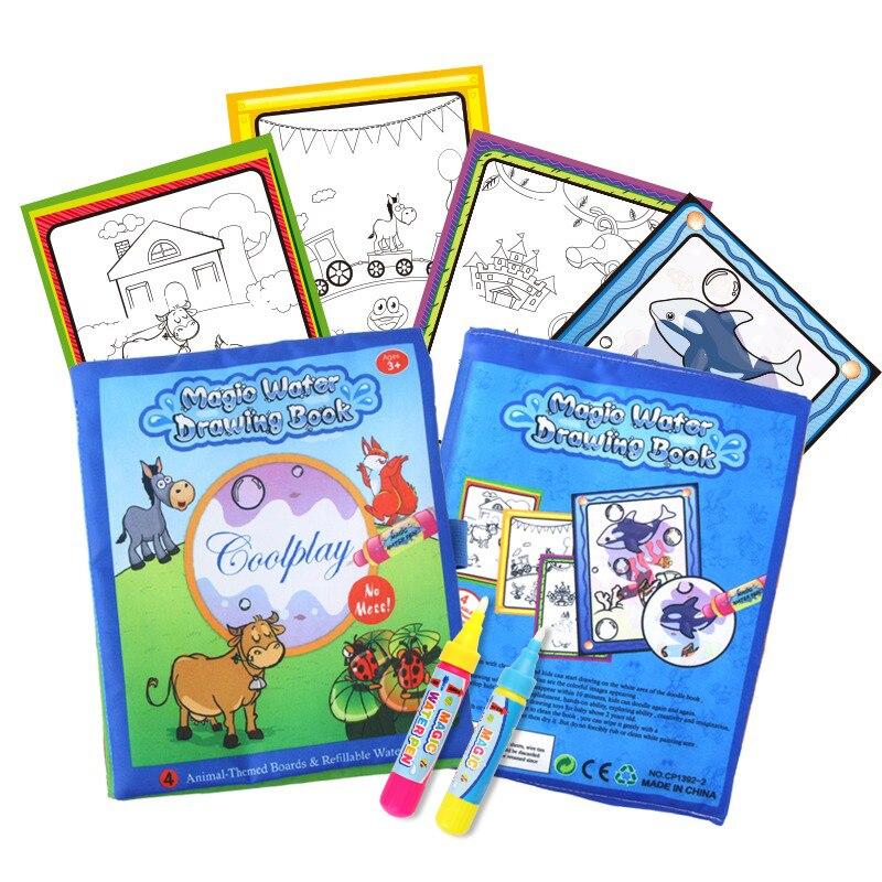 Книга для рисования с животными и 2 волшебными ручками, Нетоксичная доска для рисования, многоразовый коврик для детей, обучающие игрушки