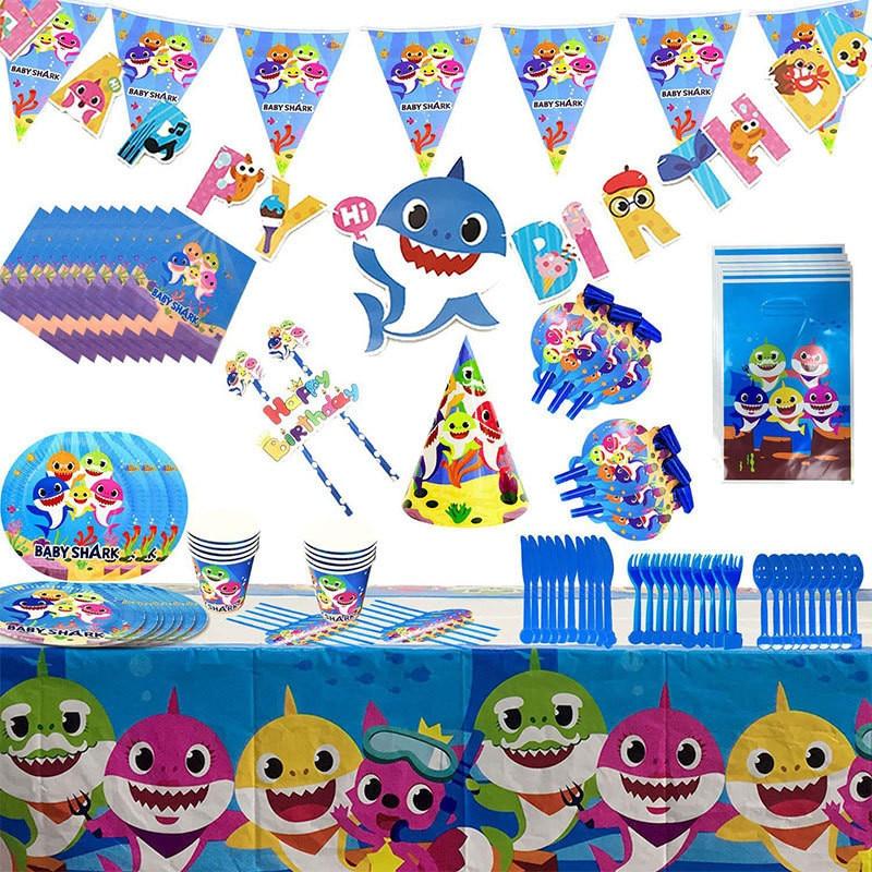 Neue Nette Ozean Shark Thema Geschirr Baby Ballon Geburtstag Party Dekoration Einweg Papier Platte Papier Tasse Geburtstag Geschenk
