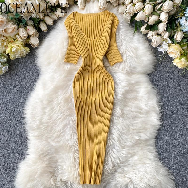 Женское трикотажное платье с v-образным вырезом OCEANLOVE, однотонное обтягивающее платье с коротким рукавом и высокой талией в винтажном стиле,...