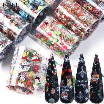 10 piezas de decoraciones de Navidad para uñas mezcla de colores de transferencia de papel de aluminio de uñas pegatina de nieve Flor de Elk regalo de Papá Noel papel adhesivo CH1036