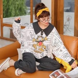 Image 2 - ملابس النساء المنزل القطن الكورية نمط الخريف الربيع ملابس خاصة الحد الأدنى نمط البرتقال بنطلون الوردي الأعلى القطن الفتاة منامة مجموعة