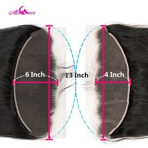 Image 3 - Ali coco 28 30 Polegada pacotes de cabelo humano em linha reta com frontal brasileiro remy cabelo pré arrancado 13x4 13x6 frontal do laço com pacotes