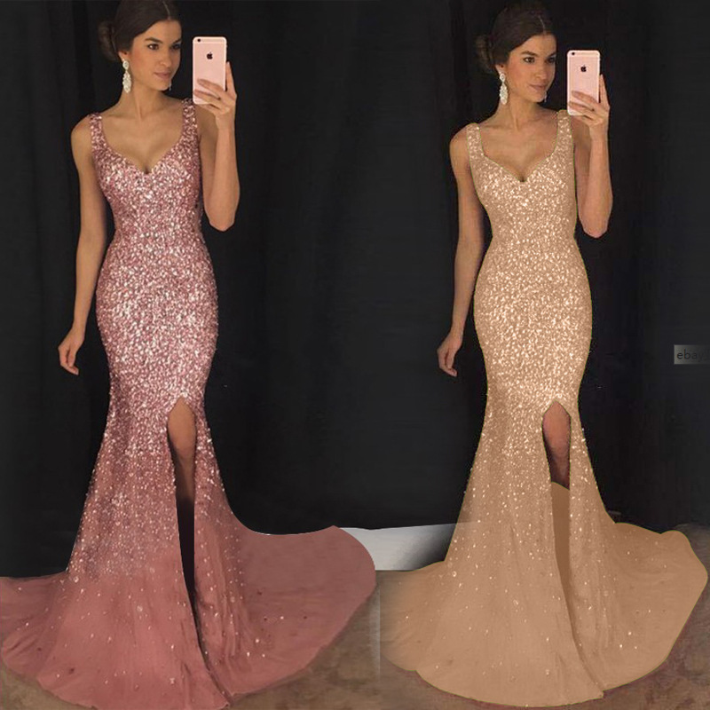 BacklakeGirls 2019 Sexy V Neck Sleeveless Spaghetti Strap Long Evening Dress Mermaid Party Sequin Gown Robe Soiree Longue