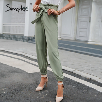 Simplee Solid high waist casual trousers High street style lace-up spring summer women pants Fashion Loose long harem pants new 10