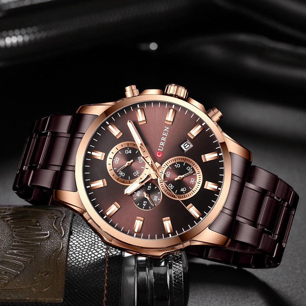 Image 5 - CURREN Men Luxury Brand Quartz Watch Military Watch Fashion Causal Chronograph Clock Stainless Steel Wristwatch Montre HommeQuartz Watches   -