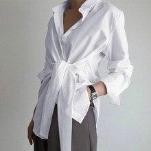 Loose Casual Blouse Ladies Top EWQ Simple-Trend Plus-Size Tie-Shirt Autumn Korea Solid