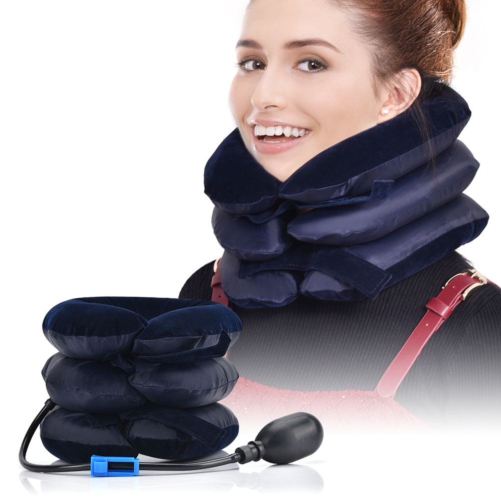 House Air Cervical Traction 1 Tube Neck Medical Devices Orthopedic Traction Pillow ollar Pain Relief Stretcher Blue Brown(China)