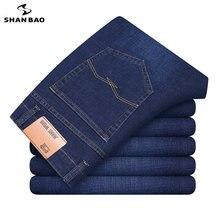 Shan bao negócios clássico masculino casual cabido perna reta confortável algodão estiramento primavera novo jeans marca de moda jeans