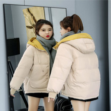 цены 2019 Winter Jacket Coat Women Warm Down Cotton Padded Short Parkas Bread Style new Autumn Fashion Bomber solid hooded Coat XXXL
