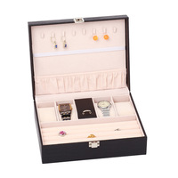 Pu Leather Jewelry Box Wooden Earrings Earrings Jewelry Storage Bag Portable Multilayer Jewelry Box Gift Dressing Case