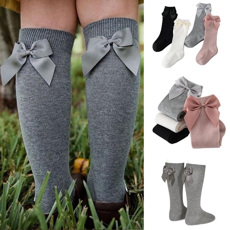 2020 Baby Girls Socks New Toddlers Girl Big Bow Knee High Long Soft Kids Socks Bowknot 100% Cotton 0-3 Years Newborn Socks 1