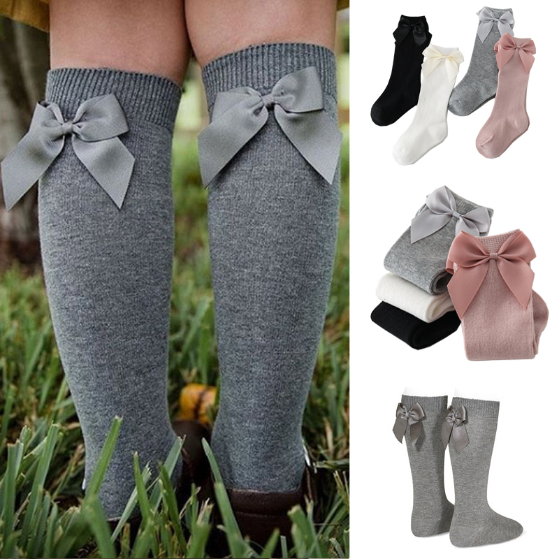 2020 Baby Girls Socks New Toddlers Girl Big Bow Knee High Long Soft Kids Socks Bowknot 100% Cotton 0-3 Years Newborn Socks
