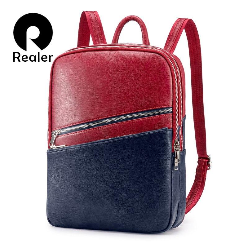 REALER Women Backpack School Bags For Teenager Girls Small Leather School Backpack For Women Mochila Shoulder Bag Panelled 2019