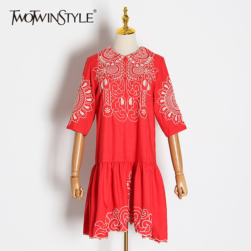 TWOTWINSTYLE Embroidery Hit Color Dress Women Lapel Collar Half Sleeve High Waist Ruched Irregular Hem Dresses Female Clothing
