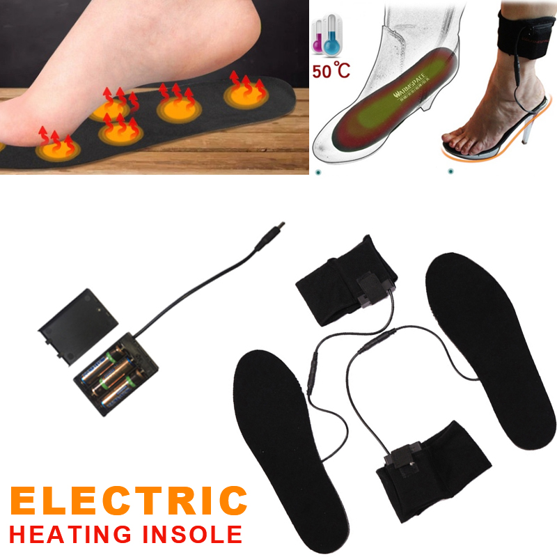 Heated Shoe Insoles Non Woven Home Furnishing Winter Keep Warm Black Battery Heater Insoles Electric Foot Heated Unisex Snow