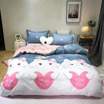 Cartoon Cat Printed 4pcs Girl Boy Kid Bed Cover Set Duvet Cover Adult Child Bed Sheet Pillowcase Comforter Bedding Set 61003 image