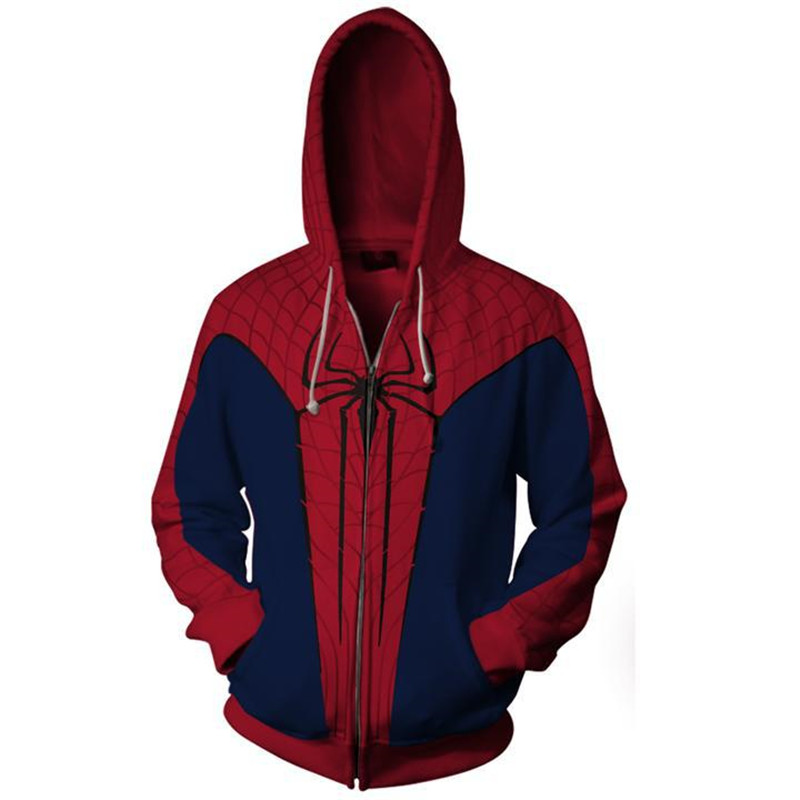 Halloween-costume Novelty Sweatshirts Superhero Spiderman Jacket Coat With Zipper Hoodie Top-clothing Blouse 3D Digital-printing