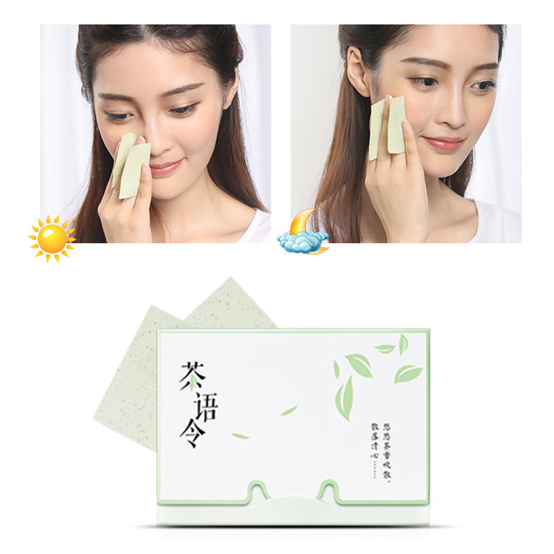 100sheets/pack Tissue Papers Green Tea Smell Makeup Cleansing Oil Absorbing Face Paper Absorb Blotting Facial Cleanser Face Tool