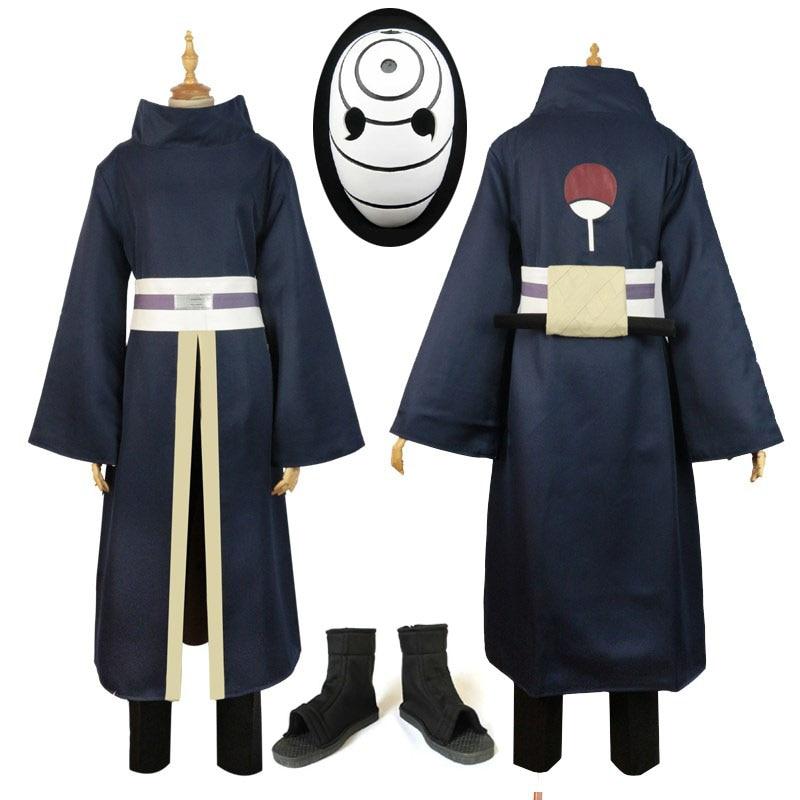 High Quality Anime Costume Full Set NARUTO Akatsuki Ninja Tobi Obito Madara Uchiha Obito Cosplay Costume Wig With Helmet Shoes