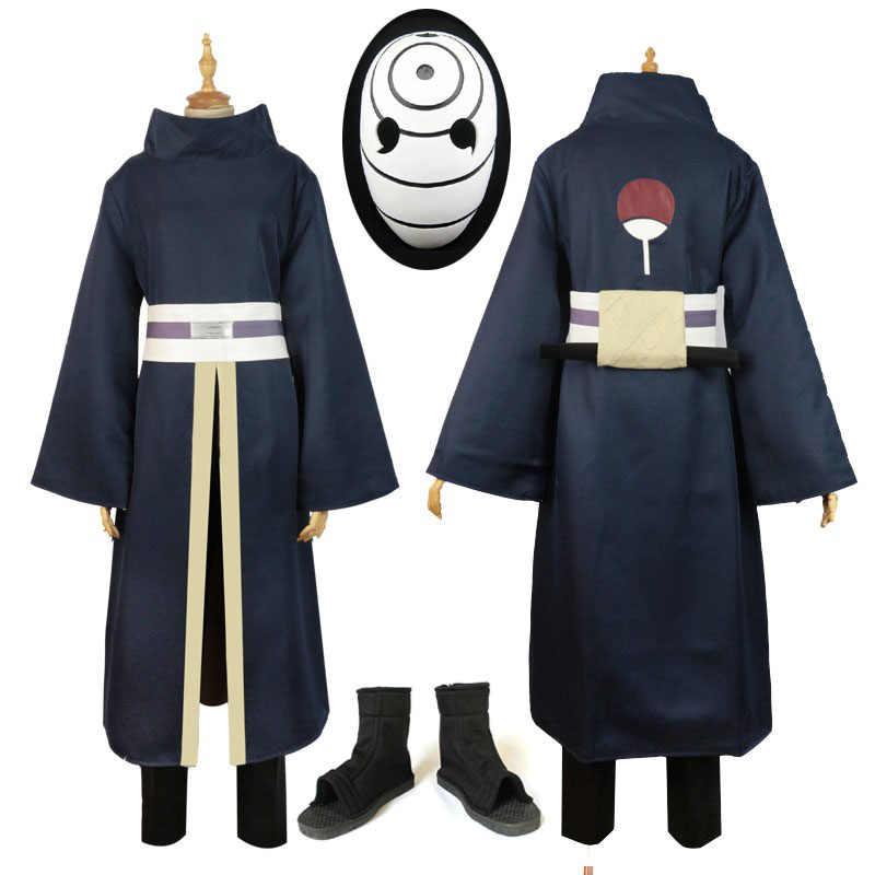 高品質アニメ衣装フルセット Naruto 暁忍者トビ Obito マダラ Obito コスプレ衣装ウィッグヘルメットの靴