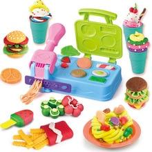 لتقوم بها بنفسك بلايدووغ الطين العجين البلاستيسين الوحل الآيس كريم آلة قالب مجموعة اللعب لتقوم بها بنفسك لعبة اليدوية صانعة النودلز المطبخ لعبة الاطفال هدية