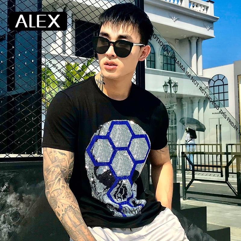 Алекс плейн 100% хлопок Мужская футболка черепа стразы забавная