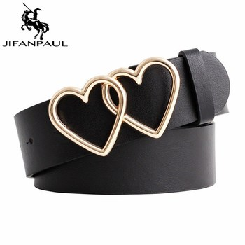 JIFANPAUL New with adjustable ladies luxury brand cute Heart-shaped thin belt high quality punk fashion belts sweetheart buckle