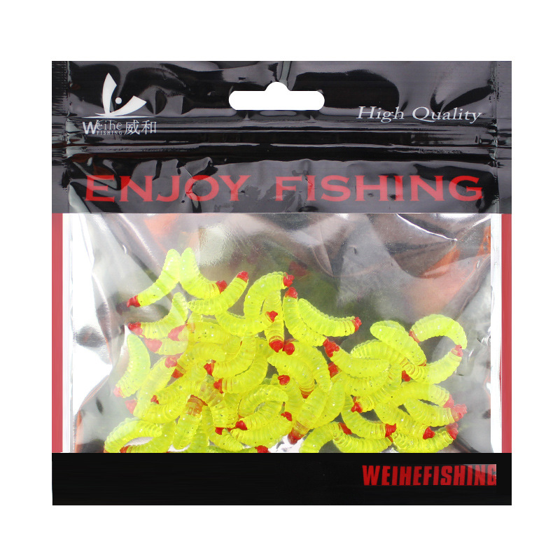 50pcs/ outdoor Winter fishing Bionic soft bait aphid 2cm/0.5g Artificial Manufacturing Soft bait sink Fishing accessories lure 5