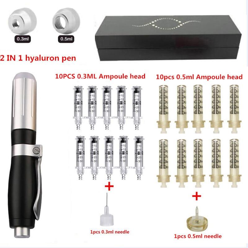 2 IN 1 High Pressure Hyaluronic Acid Pen High density metal For Anti Wrinkle Lifting Lip hyaluron gun atomizer Lip injection pen