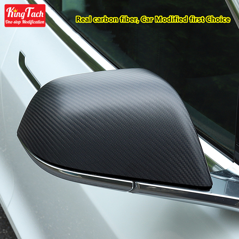 Car Rearview Mirror Cover For Tesla Model 3 Real Carbon fiber / ABS Water transfer Carbon Mirror Case Cap Exterior Accessories