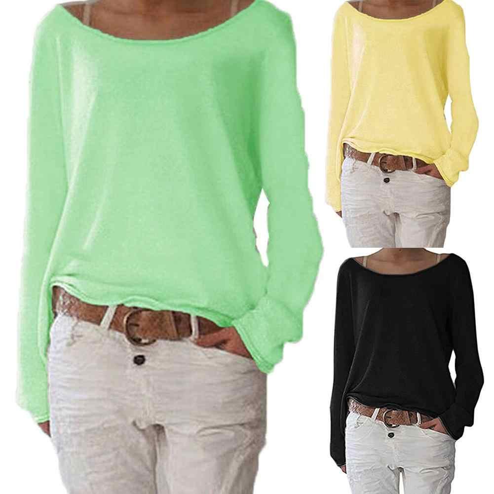 Düz renk rahat rahat yuvarlak boyun uzun kollu kadın örme tişört dip üst