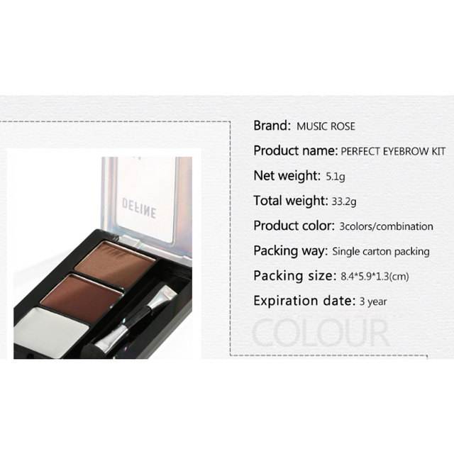 Eyebrow Powder 3 Colors Eye Brow Palette Waterproof Eyeshadow Cosmetic Eye Makeup Professional Powder Cosmetic Tools with Brush 3