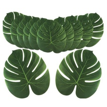 12pcs Craft Simulation Turtle Back Leaf Artificial Tropical Green Plant Home Decoration Silk Cloth Tape False