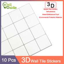 10pcs 3D Wall Sticker Mosaic Brick Self-Adhesive Waterproof paper for Kitchen Bathroom Home DIY ceramic tile Stickers