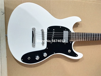 New custom white electric guitar fixed bridge chrome plated accessories foot shaped head free of shipping