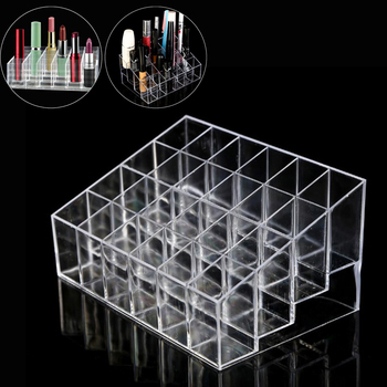24 Grid Acrylic Makeup Organizer Storage Box Cosmetic Box Lipstick Jewelry Box Case Holder Display Stand make up organizer 24 grids lipstick holder makeup lipstick display stand storage rack makeup organizer acrylic storage box