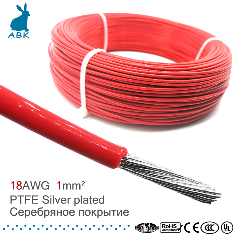 18 <font><b>AWG</b></font> 1 square millimeter <font><b>wire</b></font> cable flame retardant PTFE Tinned Silver plated Power cable <font><b>wire</b></font> image