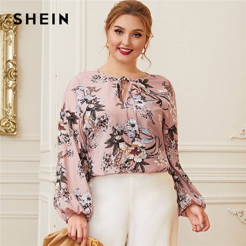 SHEIN Plus Size Pink Keyhole Tie Neck Lantern Sleeve Botanical Blouse Women Spring Floral Casual Womens Tops And Blouses