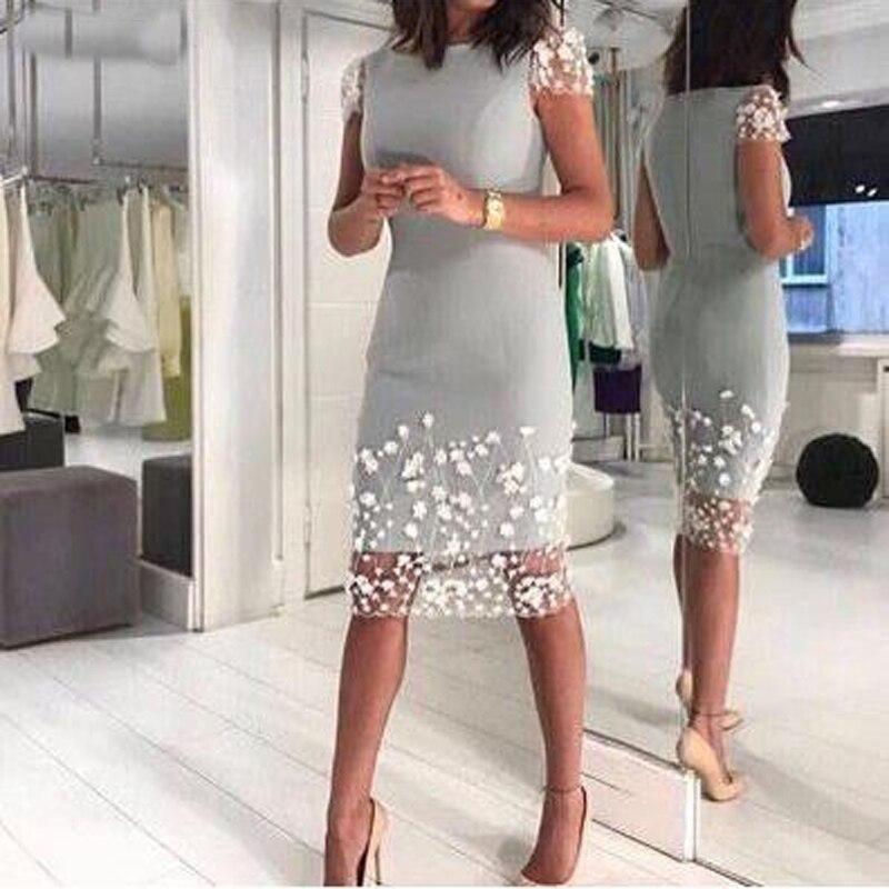 Mother Of The Bride Dresses 2019 Silver Gray Short Sleeves Sheath Knee 3D Flower Wedding Party kurti vestido de madrinha farsali