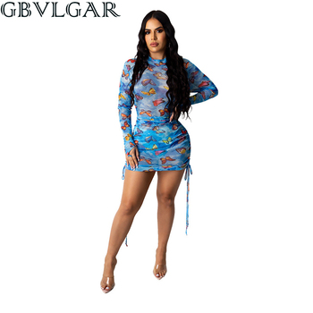 GBVLGAR Women Long Sleeve Drawstring Ruched Mini Dresses Mesh See Through Sexy Party Dress Bodycon Butterfly Print Clubwear Hot sexy women dress see through mesh bandage bodycon long sleeve evening party clubwear sexy club style mini dress