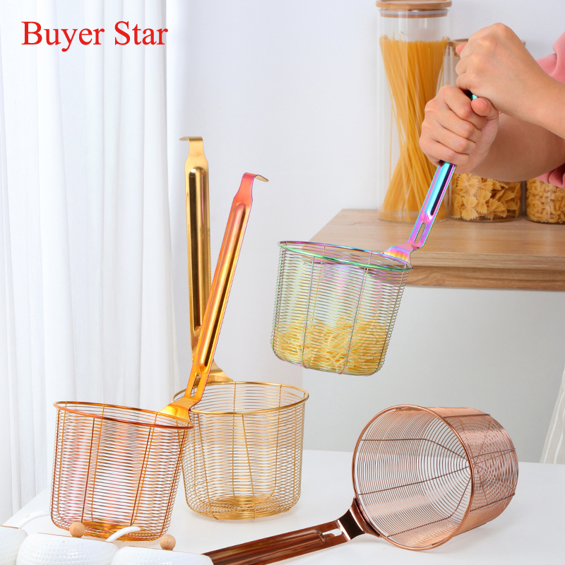 Easy Used Kitchen Golden Cook ware Stainless steel food filter Noodle Colander Soup French fries foods Cooking Basket strainer