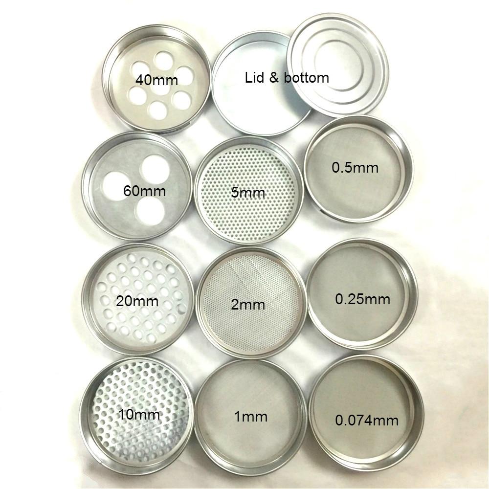Soil Sieve Horticultural Round Hole Sampling Sieve Laboratory Test Sieve Galvanized Lid & Bottom R20cm Aperture 0.074-60mm 1 Pcs