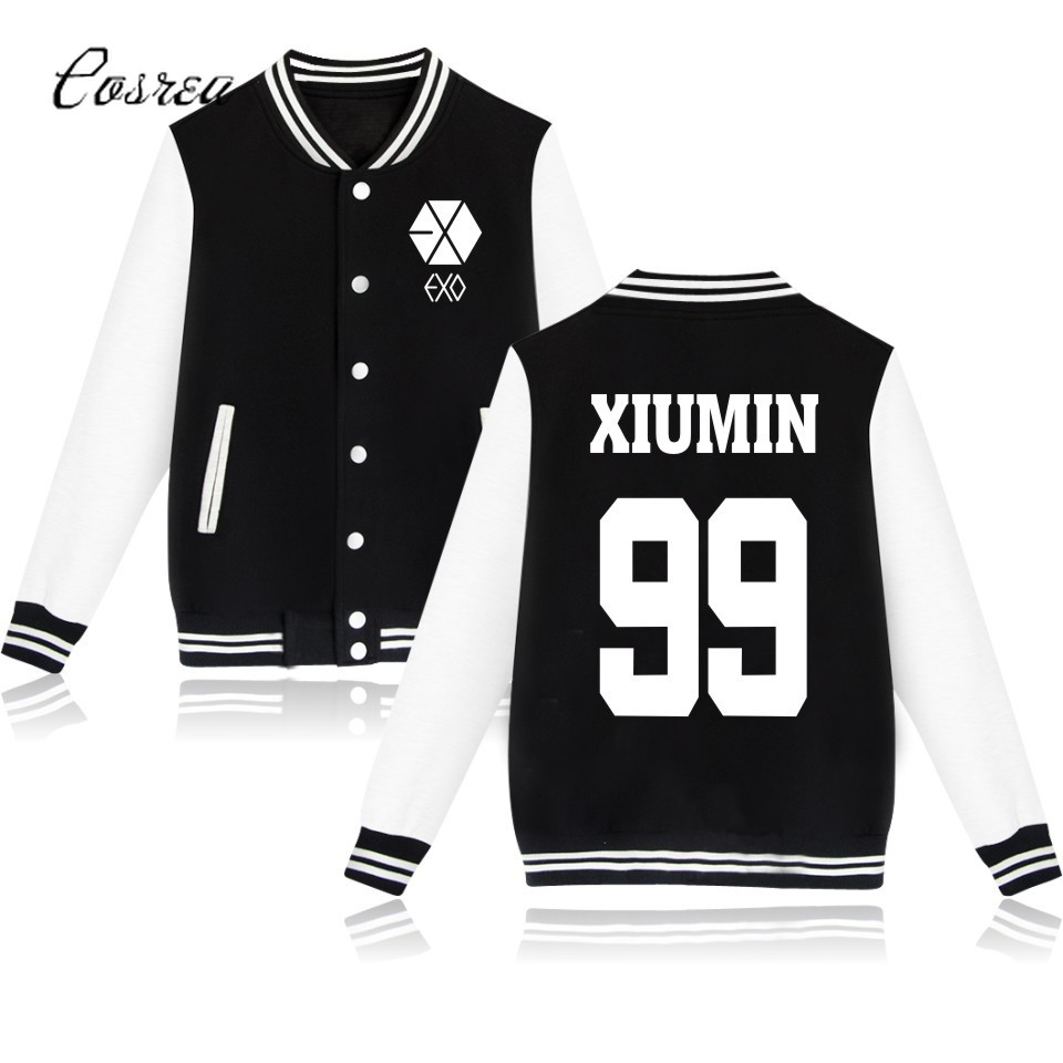 Exo Hoodies Sehun Beakhyun Xiumin Exo Lay Kai Button Zip-up Pocket Long Coat Streetwear Exo Baseball Jacket Exo Clothes