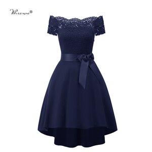 Image 4 - 7 Colors 2020 Short Lace Prom Dress Burgundy Black Zipper Side A Line With Bow Robe De Soiree Party Dress For Plus Size Woman