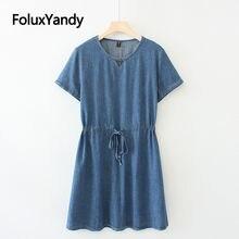 Женское джинсовое платье с круглым вырезом коротким рукавом