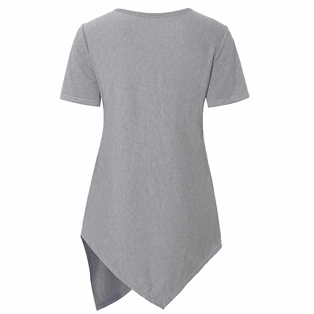 2020 ملابس حمل القطن الربيع موضة قصيرة الأكمام التمريض بلوزات الرضاعة الطبيعية الملابس للنساء الحوامل تي شيرت # C