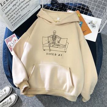 Harajuku Hoodie Skull Print 2020 Winter Clothes Women Halloween Punk Graphic Pullover Sweatshirts Vintage Plus Size Hoodies Tops